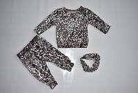 Babies Girls Crushed Velour Leopard Frill Lounge Suit Tracksuit 3 piece set 3-36
