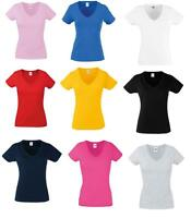 Women's 100% Cotton, Lady-fit valueweight V-Neck tee T Shirts Short Sleeves Top