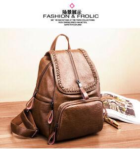 Lady Backpack Handbag Soft Lambskin Genuine Leather Shoulder School Retro QR Bag