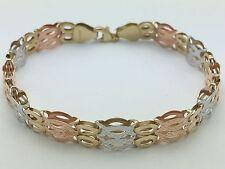 "14K Tri Color Gold 7.75"" Fancy Oval Link Diamond Cut Chain Bracelet 7.8 g, 8 mm"