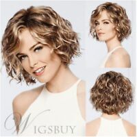 100% Human Hair Bob Hairstyle Short Wavy Curly Brown Fashion Woman Wig
