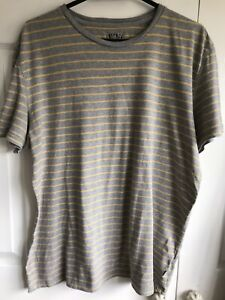 🌈 Fat Face Grey Yellow Striped Vintage Style T-Shirt Size L