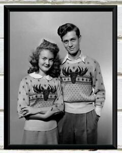 Vintage Photo 1950's Matching Moose Sweaters Portrait Vintage Photo Print