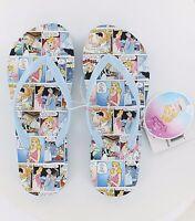 New Women's Disney Flip Flops - Cinderella - Comic - Blue - Size 5
