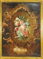 F3-025. STILL LIFE OF FLOWERS. OIL ON CANVAS. CENTURY XVIII.