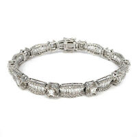 18K White Gold 6.78ctw Diamond Tennis Bracelet