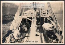 "North Sea Fishing Boat ""Water Priory"" Iced Over In Winter 1930s Trade Card"