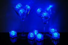 Set of 12 Litecubes Brand 3 Mode BLUE Light up LED Ice Cubes