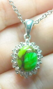 """3.27 ct Natural Mojave Turquoise & Topaz Pendant with 20"""" Chain Platinum / .925"""