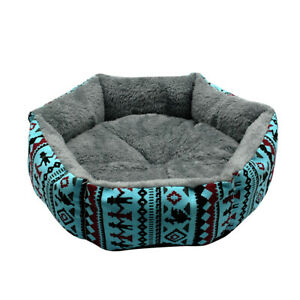 Warm Dog Cat Bed with Removable Pad Mat Fluffy Pet Sleeping Cushion Sofa Blue
