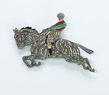 Vintage Austrian Silver Marcasite Enamel Horse Jockey Brooch