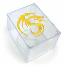 BCW Deck Keeper Clear Gold Dragon TCG Card Storage Box - 150 Raw / 100 Sleeved