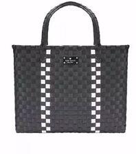 Kate Spade New York Black & White Large Woven Tote Bag Beach/Shopping NEW