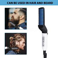 Électrique Peigne Brosse Lisseur Barbe Fer à Lisser Cheveux pour Homme Coiffure