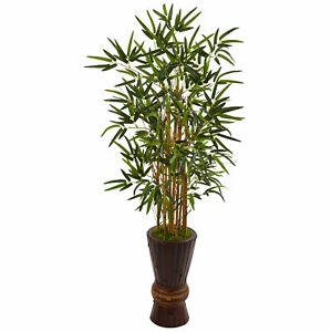 Nearly Natural 4.5' Bamboo Tree In Wooden Planter Artificial Home Decoration