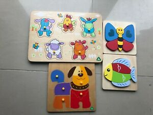 4 X ELC Wooden Shapes Blossom Farm Wooden Puzzle Sounds Dog Butterfly Fish