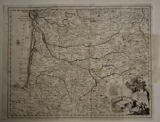 GASCONY GUIENNE FRANCE 1758 ISAAK TIRION ANTIQUE ORIGINAL COPPER ENGRAVED MAP