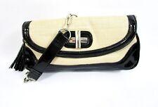 White House Black Market WHBM Straw Black Patent Purse Silver Chain Strap Tassel