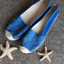 $150 Sold Out Franco Sarto TWILIGHT Blue Espadrille Flats Suede Slip On Stud 8