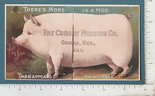 9204 Cudahy Packing Co. mechanical pig trade card Omaha, NB, bacon ham lard meat