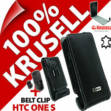 New Krusell Orbit Flex GENUINE LEATHER Flip Case Cover + Belt Clip for HTC One S