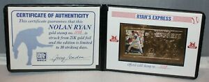 1995 SCCA LIMITED EDITION NOLAN RYAN OFFICIAL 23 KARAT GOLD STAMP 3129 MINT!