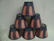 """6 Clip On Chandelier lamp Shade 2.5""""x5""""x4"""" -  Red white blue  Primitive Rustic"""