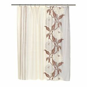 """Carnation Home """"Chelsea"""" Fabric Shower Curtain in Chocolate"""