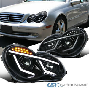 For 01-07 Mercedes Benz W203 C-Class Pearl Black Projector Headlights+LED Signal