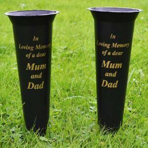 Set of 2 Mum & Dad In Loving Memory Spiked Memorial Grave Flower Vases Holder