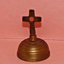 Vintage Brass Hand Bell Desk Top Bed Side Bell Cross Handle
