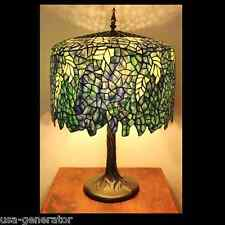"Table Lamp 3 Light Stained Cut Glass Tiffany Style Wisteria Metal Base 18""x 27"""