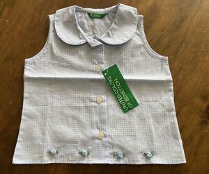 BNWT benetton Baby Girls Peter Pan Collar Blouse 9-12 Months