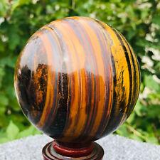 890g Natural Tiger-s Eye Quartz Crystal Sphere Ball Healing B394