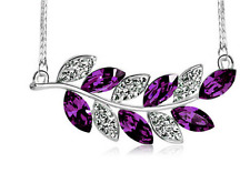 NEW Womens Leaves Purple Crystal Rhinestone Silver Chain Pendant Necklace  ----