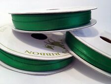 10M Rollo Completo 6mm verde doble cara cinta de raso Navidad Coronas tarjetas regalos