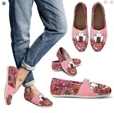 Groove Bags Slip On Loafers White Pitbull Dog Flats Pink Women Us 7 Shoes Clean