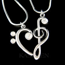 2 Treble Bass Clef MUSIC made with Swarovski Crystal Best Friends Heart Necklace