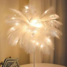 White Feather Shade Table Lamp Lampshade Elegant Bedside Desk Night Light Gift