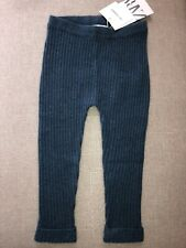 New Zara Boy Girl Kids 100% Cashmere  Blue  Ribbed Legging Pants Size 12-18 M
