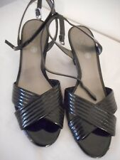 "Size 6 Ann Taylor Loft 3"" wedge heel black patent leather strappy sandal"