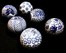 """TOZAI BLUE and WHITE ASIAN PORCELAIN DESIGNER ORBS (6) SPHERES 3"""" DIAMETER ~ NEW"""