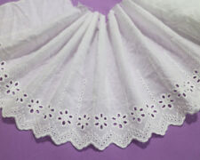 LOT 7 Yards Embroidery Holes Cotton White Lace Trim For Sewing/Craft Wide 17 CM