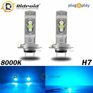 2x H7 High/Low Beam LED Headlight Conversion Kit Bulbs Mini 8000K Ice Blue
