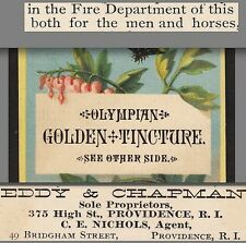 Golden Tincture Toothache Man or Beast Cure Providence Dire Department Ad Card