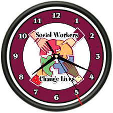 SOCIAL WORKER Wall Clock employee worker children family help gift