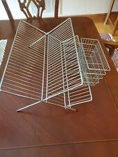 Metal Dish Rack Holder Folding Storage Stainless Vtg Mcm Kitchen Display Drying