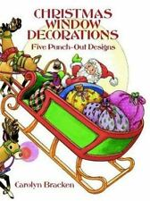 CHRISTMAS WINDOW DECORATIONS, Five Punch-Out Designs, wreath, angel, Santa, more