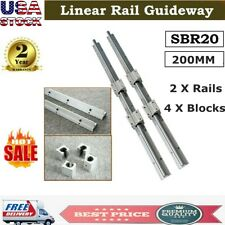 Sbr20 Linear Rail Slide Guide 200mm 2x Shaft Sbr20uu Block Bearing Cnc Set Usa