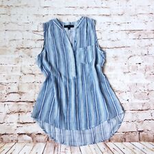 NWOT Fred David Sz M Women's Blouse sleeveless Blue Rayon Striped New